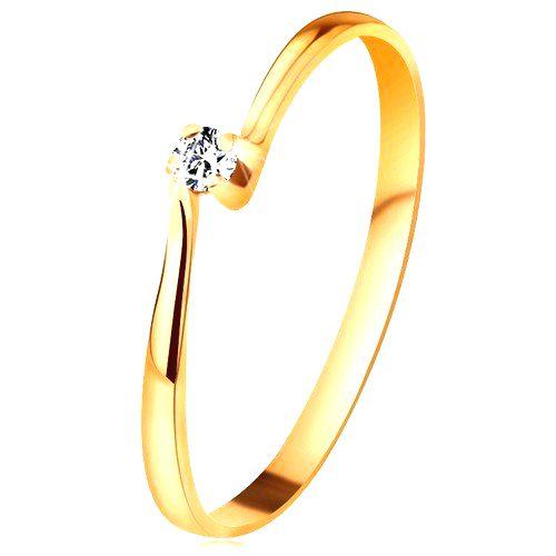 Zásnubný prsteň zo žltého 14K zlata - zirkón v kotlíku medzi zúženými ramenami - Veľkosť: 58 mm