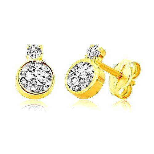 Zlaté 14K náušnice - brúsený trblietavý zirkón v objímke a menší zirkónik v kotlíku