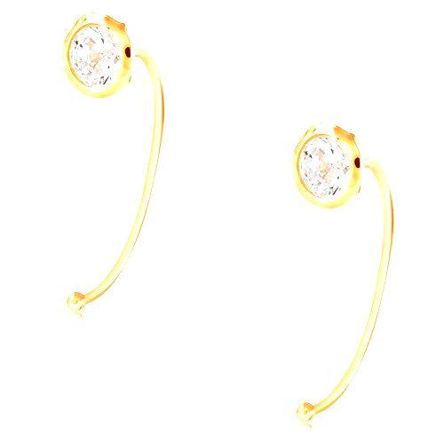 Zlaté 14K náušnice - číry okrúhly zirkón v objímke