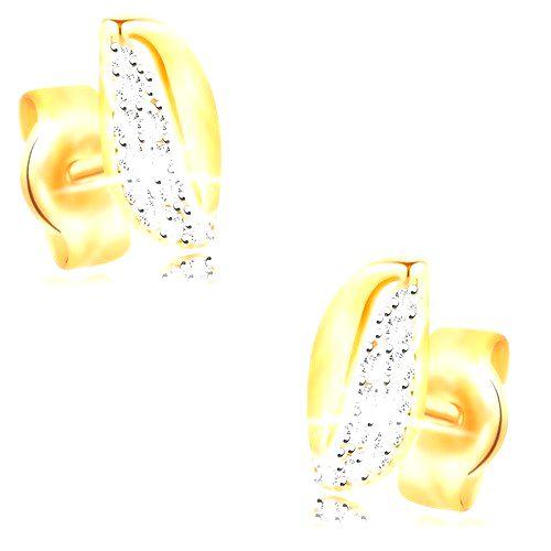 Zlaté 14K náušnice - dvojfarebné zvlnené zrnko so zirkónmi a výrezom