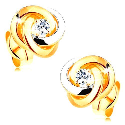 Zlaté 14K náušnice - dvojfarebný uzol z troch obručí