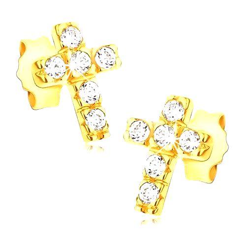 Zlaté 14K náušnice - krížiky so šiestimi okrúhlymi zirkónmi