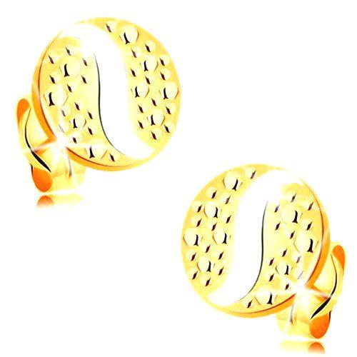 Zlaté 14K náušnice - kruh s bodkami a vlnkou z bieleho zlata
