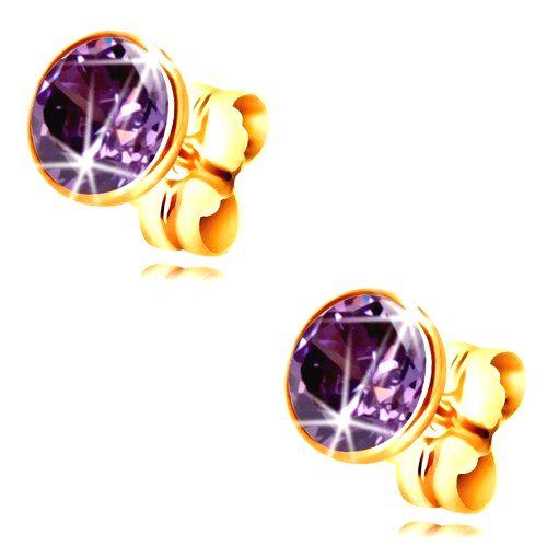 Zlaté 14K náušnice - okrúhly zirkón tmavofialovej farby objímke