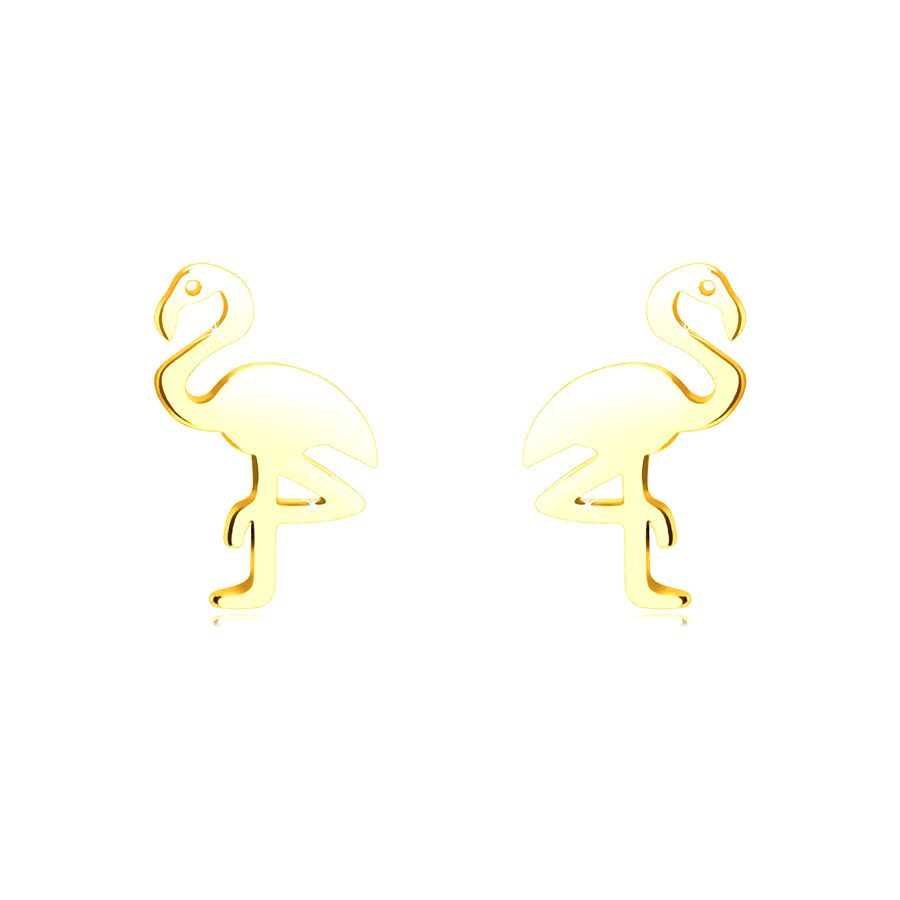 Zlaté 14K náušnice - plameniak stojaci na jednej nohe