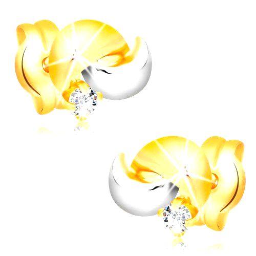 Zlaté 14K náušnice s ligotavým diamantom