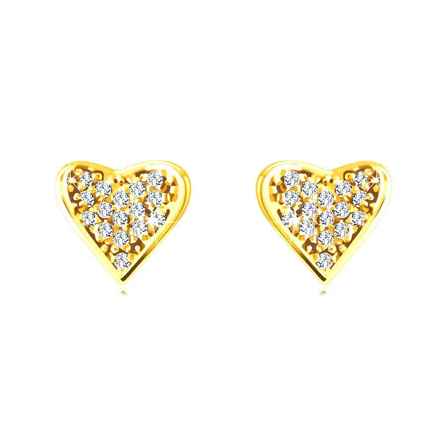 Zlaté 14K náušnice - srdcia vykladané drobnými okrúhlymi zirkónmi