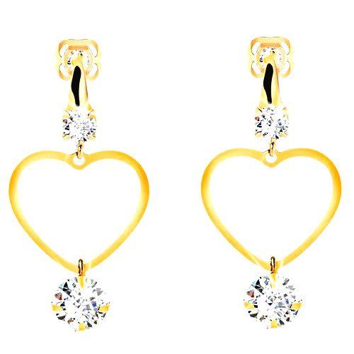Zlaté 14K náušnice - tenký obrys súmerného srdca