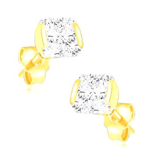 Zlaté 14K náušnice - trblietavý zirkón uchytený z dvoch strán v objímke