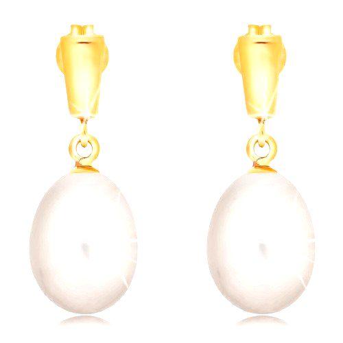 Zlaté 14K náušnice - visiaca oválna perla bielej farby