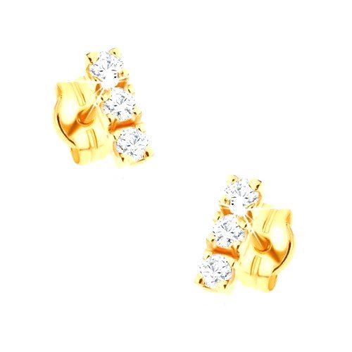 Zlaté 14K náušnice - zvislá línia troch ligotavých briliantov čírej farby