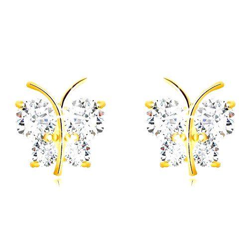 Zlaté 9K náušnice - lesklý motýľ s trblietavými krídlami