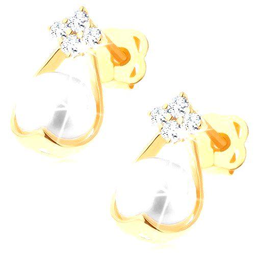 Zlaté briliantové náušnice 585 - štyri diamanty