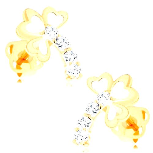 Zlaté diamantové náušnice 14K - trojlístok s trblietavou stonkou
