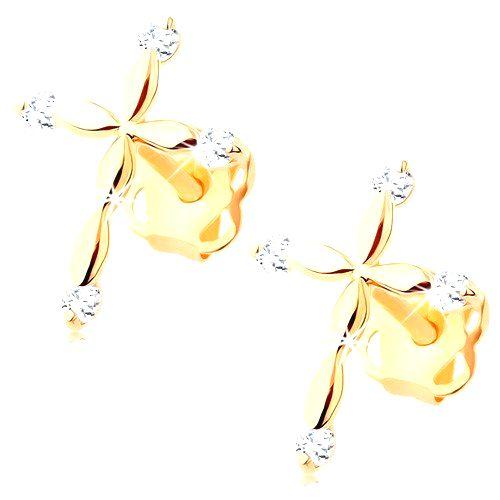 Zlaté diamantové náušnice 585 - latinský krížik