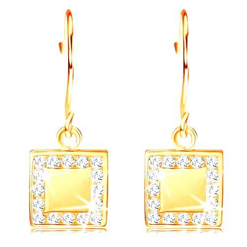 Zlaté diamantové náušnice 585 - plochý štvorec s čírymi briliantmi po obvode