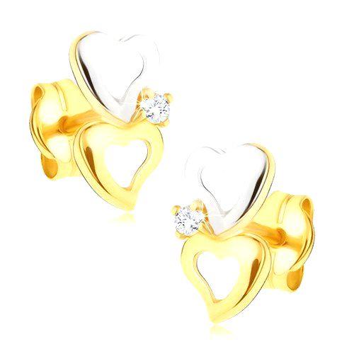 Zlaté dvojfarebné náušnice 585 - obrysy nepravidelných sŕdc