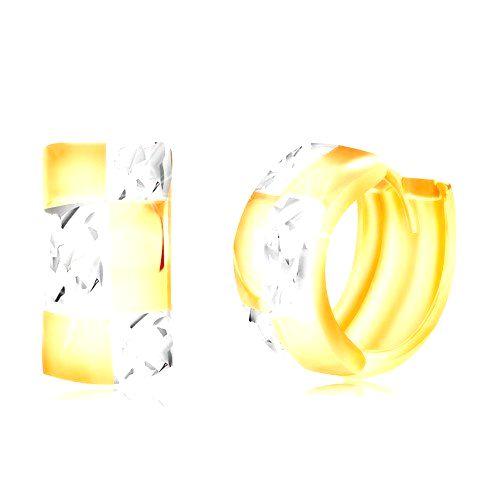 Zlaté kĺbové náušnice 585 - dvojfarebný krúžok so vzorom šachovnice