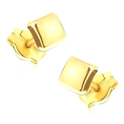 Zlaté ligotavé náušnice 585 - lesklé štvorce s mierne vypuklým povrchom