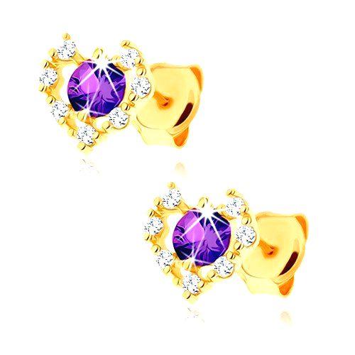 Zlaté náušnice 375 - číry zirkónový obrys srdca