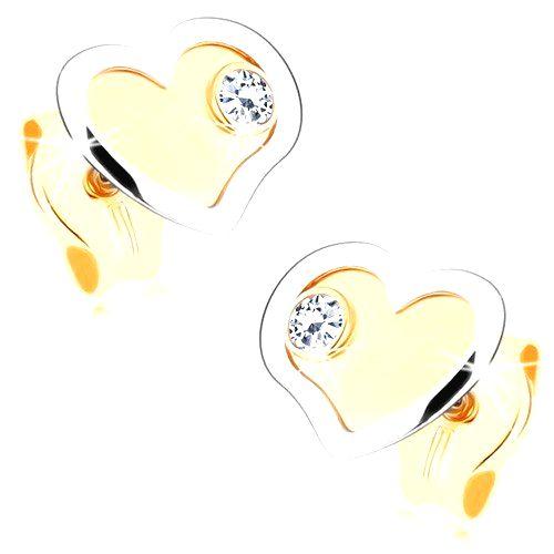 Zlaté náušnice 375 - dvojfarebné srdiečka v lesklo-matnom prevedení
