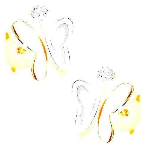 Zlaté náušnice 375 - dvojfarebný motýlik s nesúmernými krídlami a zirkónom