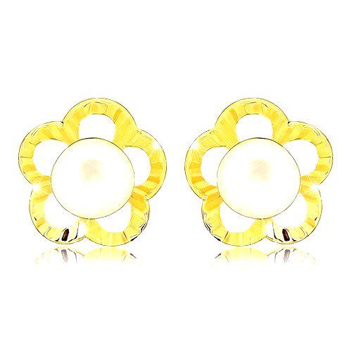 Zlaté náušnice 375 - gravírovaný obrys kvetu