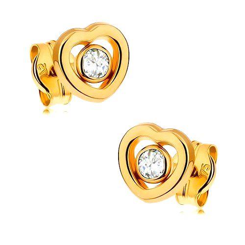 Zlaté náušnice 375 - kontúra symetrického srdiečka