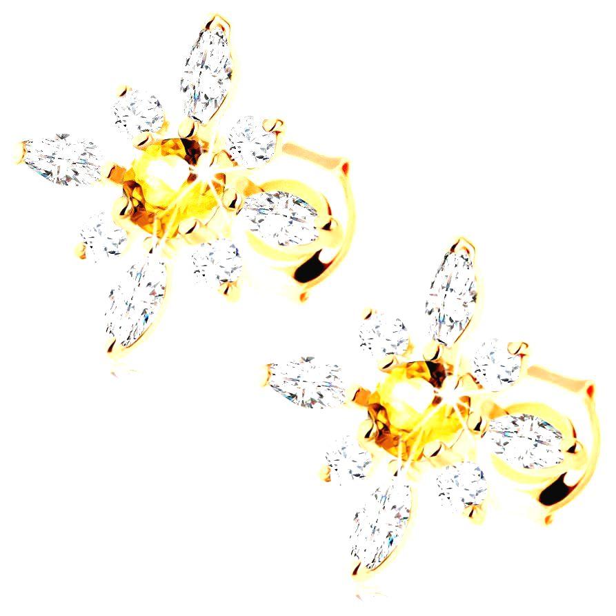 Zlaté náušnice 375 - kvet zo žltého citrínu a čírych zirkónov