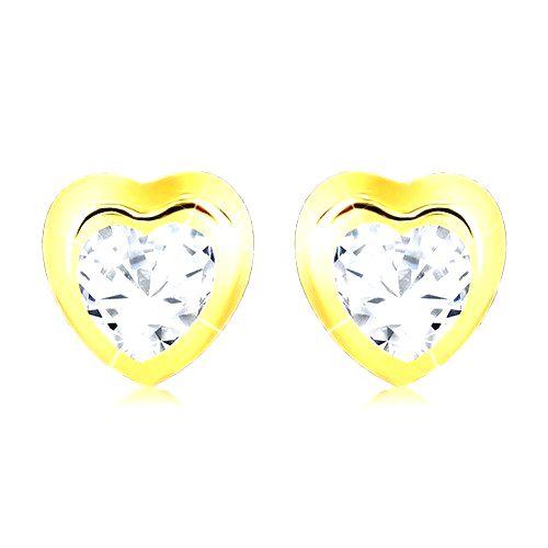 Zlaté náušnice 375 - lesklá kontúra pravidelného srdca