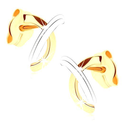 Zlaté náušnice 375 - lesklé prekrížené oblúčiky v dvoch odtieňoch