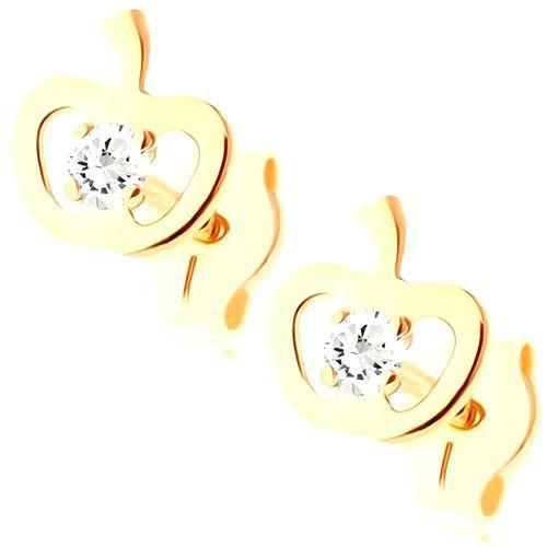 Zlaté náušnice 375 - ligotavý obrys jabĺčka