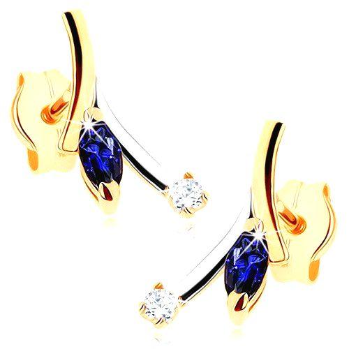 Zlaté náušnice 375 - modrý zrnkový zafír