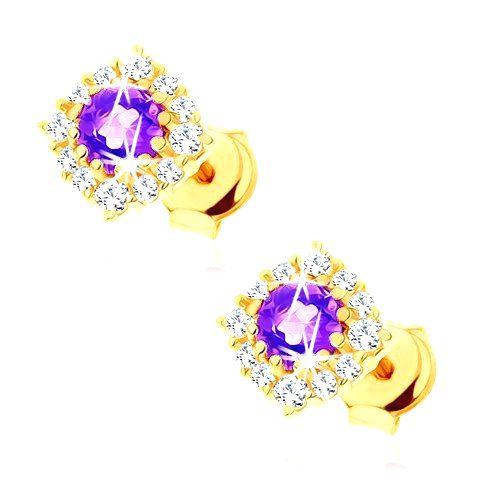 Zlaté náušnice 375 - okrúhly fialový ametyst s čírou zirkónovu obrubou