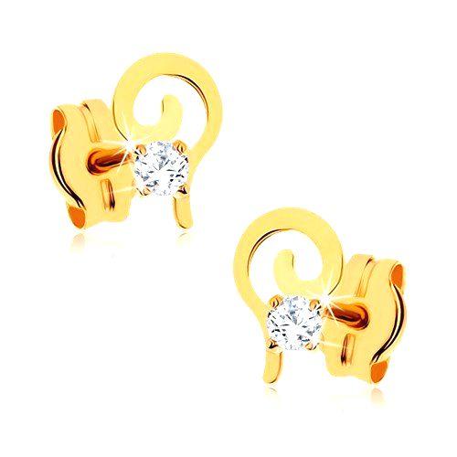 Zlaté náušnice 375 - plochá špirála zdobená okrúhlym čírym kamienkom