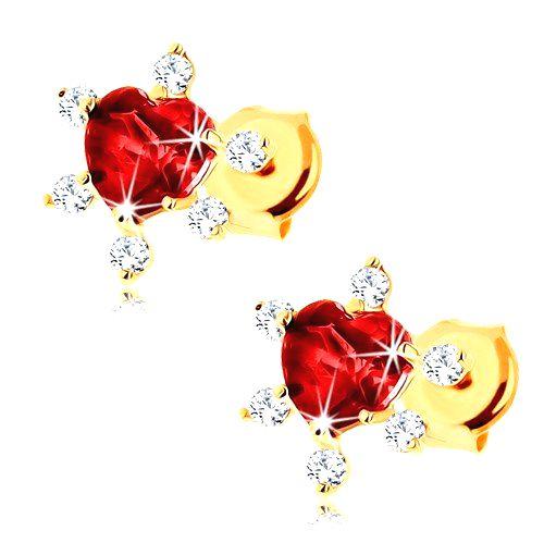 Zlaté náušnice 375 - srdiečkový granát červenej farby