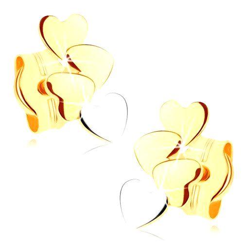 Zlaté náušnice 375 - štyri malé ploché srdiečka