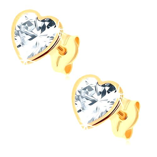 Zlaté náušnice 375 - trblietavé srdce z brúseného zirkónu