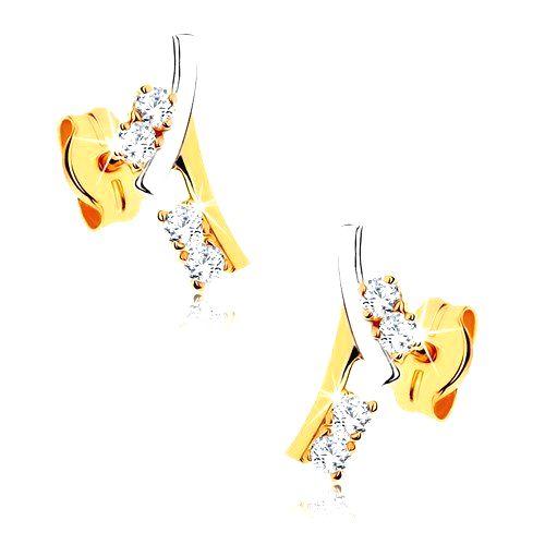 Zlaté náušnice 375 - vetvička zdobená kamienkami v čírej farbe