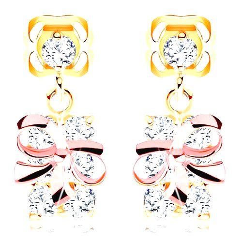 Zlaté náušnice 585 - balíček s mašľou z ružového zlata