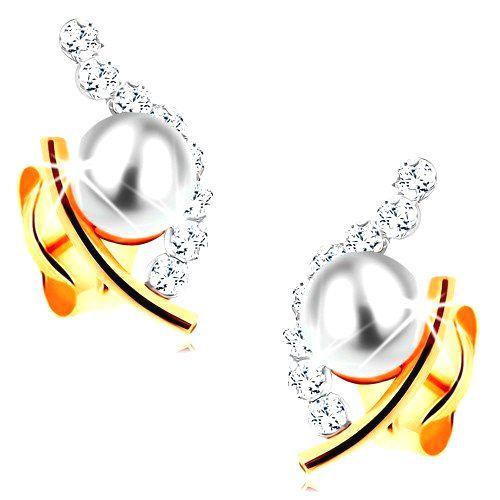 Zlaté náušnice 585 - biela guľatá perla v neúplnom obryse zrnka