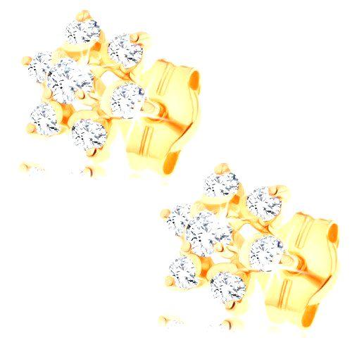 Zlaté náušnice 585 - číry zirkónový kvietok