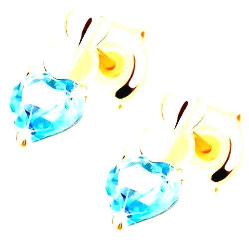 Zlaté náušnice 585 - dve malé srdiečka a srdiečkový topás modrej farby