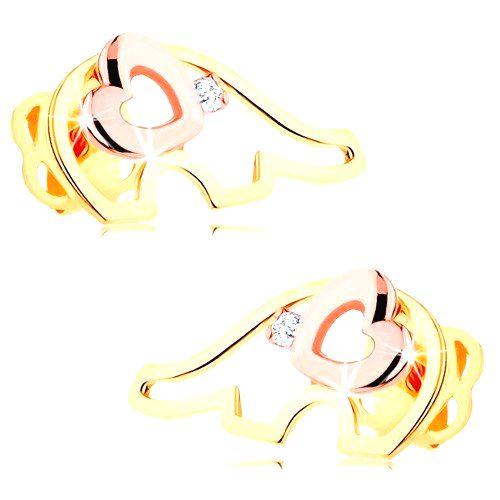 Zlaté náušnice 585 - dvojfarebná kontúra sloníka