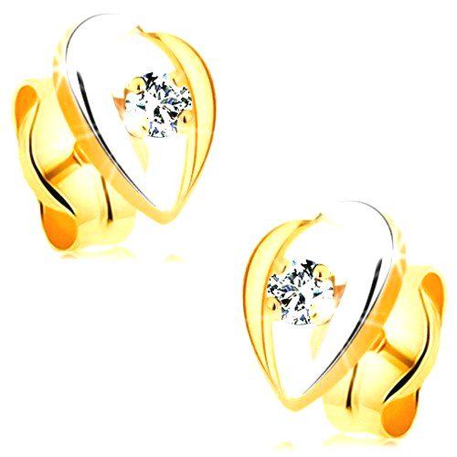 Zlaté náušnice 585 - dvojfarebné zahnuté línie lemujúce číry zirkón