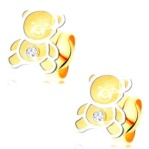 Zlaté náušnice 585 - dvojfarebný medvedík s matným povrchom