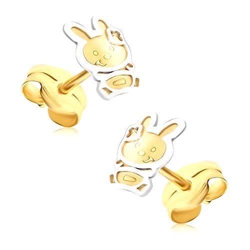 Zlaté náušnice 585 - dvojfarebný zajačik so saténovým povrchom