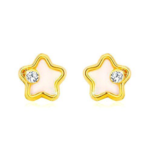 Zlaté náušnice 585 - hviezdička s bielou prírodnou perleťou a čírym zirkónom