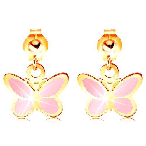 Zlaté náušnice 585 - lesklá gulička a visiaci ružový motýlik