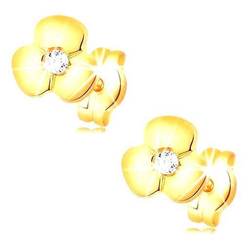 Zlaté náušnice 585 - lesklý kvietok s čírym zirkónom uprostred